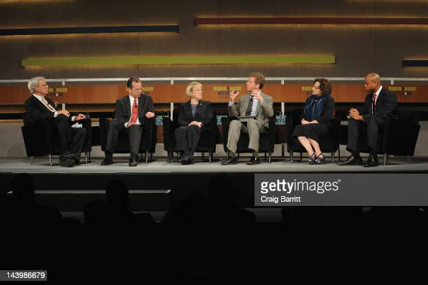 Television Journalist Tom Brokaw Michael Mullen Patty Murray Shaun Donovan Nancy Berglass and Wes Moore speak at the Robin Hood Veterans Summit at...