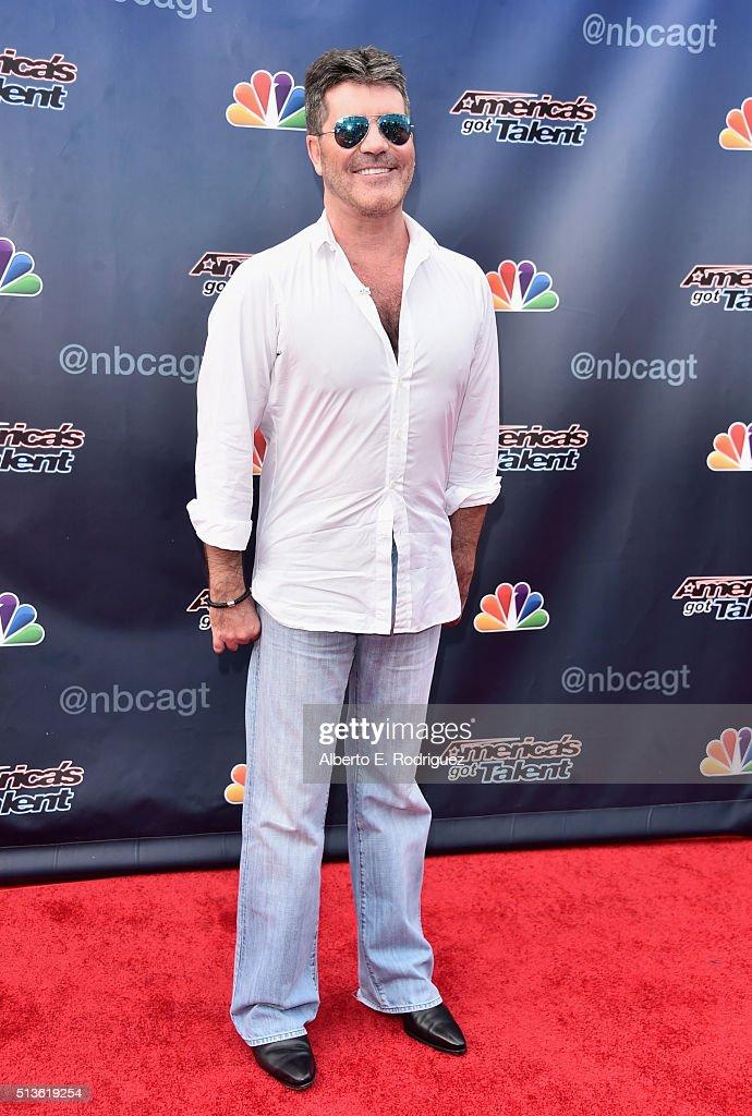 Television judge/producer Simon Cowell attends NBC's 'America's Got Talent' Season 11 Kickoff at Pasadena Civic Auditorium on March 3, 2016 in Pasadena, California.