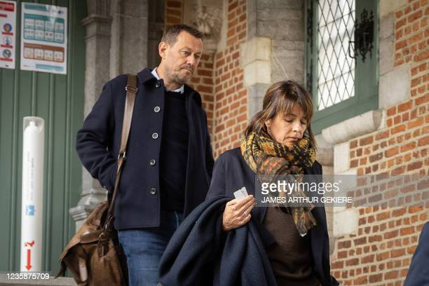 Television maker Bart De Pauw and wife Ines De Vos pictured during a session of the Criminal Court in Mechelen in the trial of television producer...