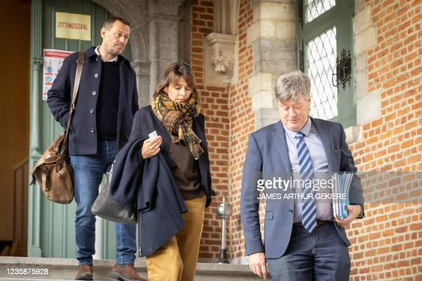 Television maker Bart De Pauw, wife Ines De Vos and lawyer Michael Verhaeghe pictured during a session of the Criminal Court in Mechelen in the trial...