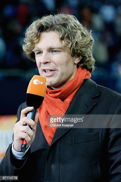 Television moderator Michael Steinbrecher of the ZDF speaks before the UEFA Cup Round of 16 second leg match between Schalke 04 and US Citta di...