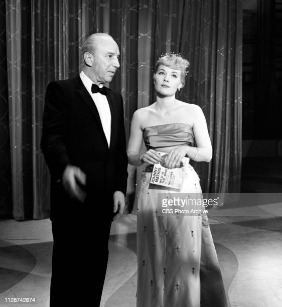 CBS television music program The Big Record Broadcast January 1 1958 Pictured from left is Lloyd Nolan Patti Page