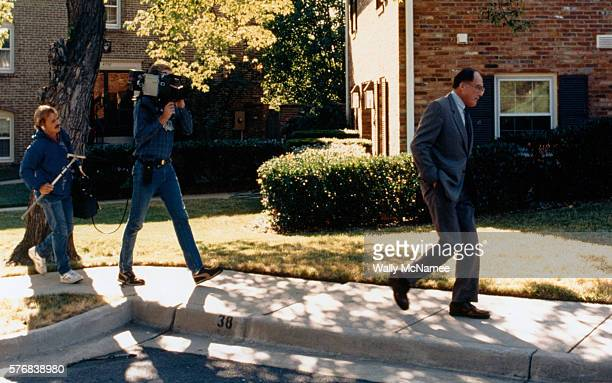 television news crew following william rehnquist - supreme court justice stock pictures, royalty-free photos & images