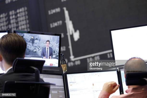 A television news report shows damage from military airstrikes on Syria as the DAX Index curve is displayed beyond at the Frankfurt Stock Exchange...
