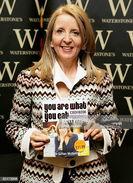 Television Nutrition advisor and presenter of 'You Are What You Eat' Dr Gillian McKeith is seen displaying copies of her new 'You Are What You Eat...