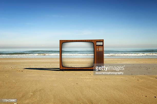 television on the beach - television show stock pictures, royalty-free photos & images