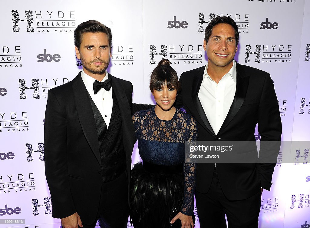 Television personalies Scott Disick, Kourtney Kardashian and film producer Joe Francis arrive at Scott's 30th birthday bash at Hyde Bellagio at the Bellagio on May 26, 2013 in Las Vegas, Nevada.