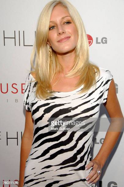 Television personalitie Heidi Montag arrive at 'The Hills' Season Three premeire at the LG House on August 8 2007 in Malibu California