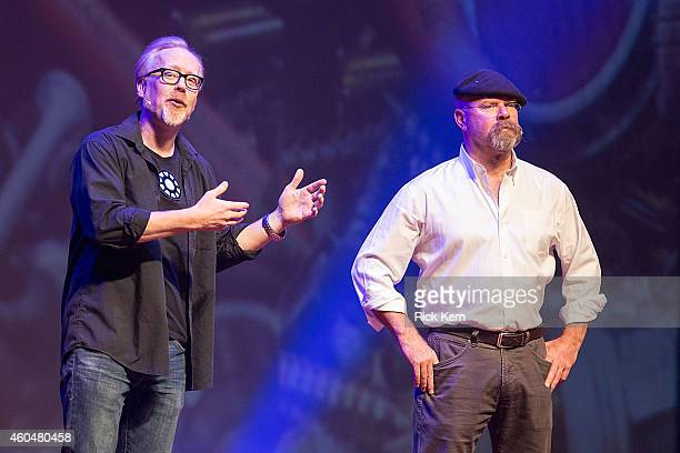 Television personalities Adam Savage and Jamie Hyneman appear on stage during 'MythBusters Behind the Myths' at ACL Live on December 14 2014 in...
