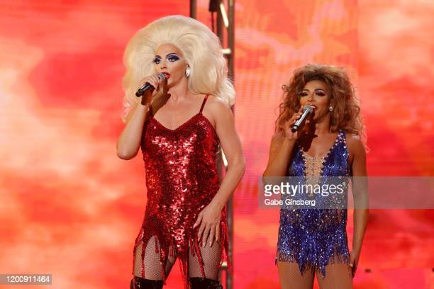 Television personalities Alyssa Edwards and Shangela Laquifa Wadley perform during the 2020 GayVN Awards show at The Joint inside the Hard Rock Hotel...