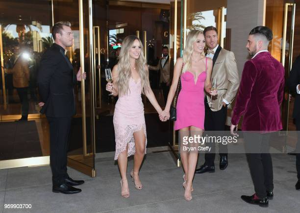 Television personalities Amanda Stanton and Lauren Bushnell are welcomed by Palms Casino Resort Executive Creative Director Tal Cooperman during the...