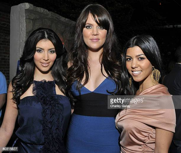 Television personalities and sisters Kim Kardashian, Khloe Kardashian, and Kourtney Kardashian attend the season two launch of 'Keeping Up With The...