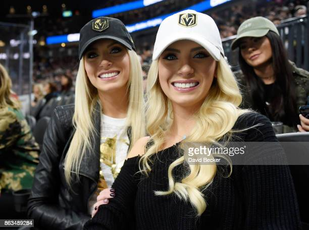 Television personalities and twin sisters Emily Ferguson and Haley Ferguson attend a hockey game between the Vegas Golden Knights and the Buffalo...