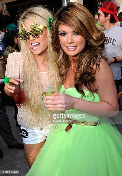 Television personalities Angel Porrino and Laura Croft attend the St. Patrick's Day celebration at Chateau Nightclub & Gardens at the Paris Las Vegas...