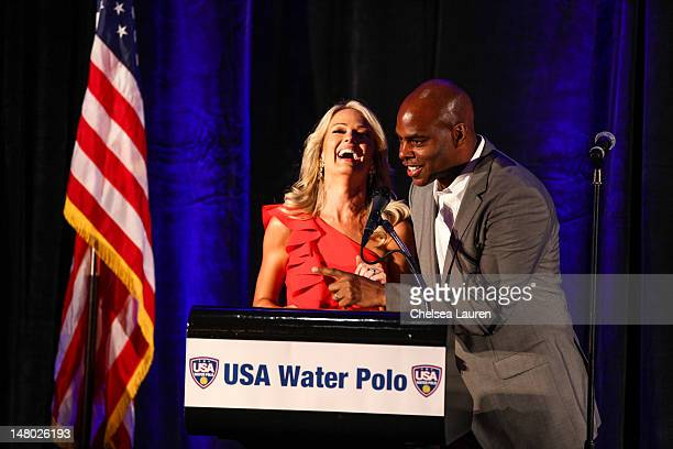Television personalities Brooke Anderson and Kevin Frazier speak at the US Olympic water polo teams official sendoff at InterContinental Hotel on...