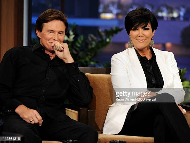 Television personalities Bruce Jenner and his wife Kris Jenner appear on The Tonight Show with Jay Leno at the NBC Studios on June 10 2011 in Burbank...
