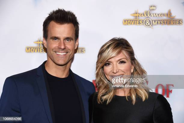 Television personalities Cameron Mathison and Debbie Matenopoulos arrive at the Hallmark Channel 'Once Upon A Christmas Miracle' screening and...