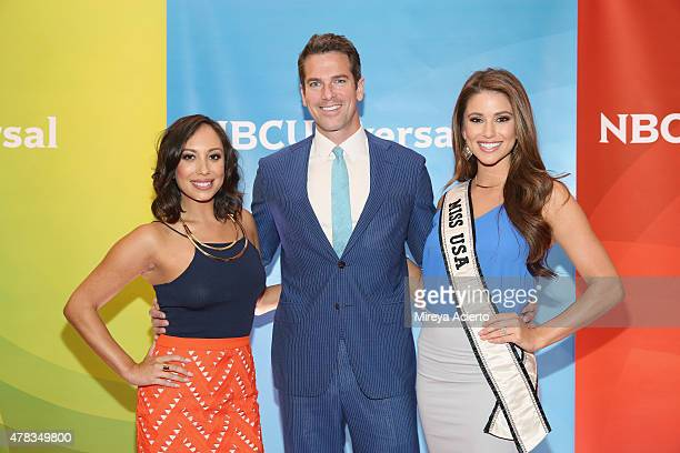 Television personalities Cheryl Burke Thomas Roberts and Nia Sanchez attend the 2015 NBC New York Summer Press Day at Four Seasons Hotel New York on...