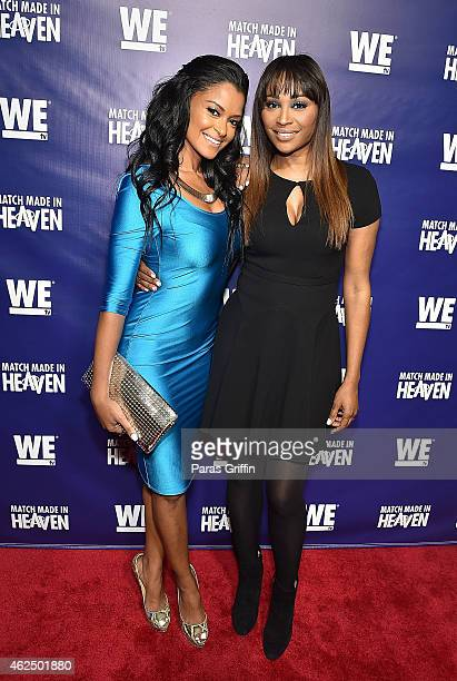 "Television personalities Claudia Jordan and Cynthia Bailey attend WE tv's ""Match Made In Heaven"" Preview Screening at the TWELVE Hotel Atlantic..."