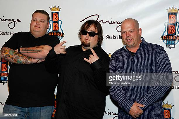 """Television personalities Corey Harrison, Austin Russell and Rick Harrison from the reality TV show """"Pawn Stars"""" shattend the grand opening of the..."""