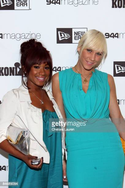 Television personalities Danielle Crawley and April Roomet attends the New Era 944 Magazine PreGrammy Party at Studio 944 on February 7 2009 in...