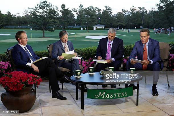 Television personalities David Duval Brandel Chamblee Frank Nobilo and Rich Lerner appear on set during the first round of the 2016 Masters...