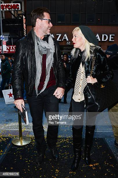 "Television personalities Dean McDermott and Tori Spelling enter the ""Today Show"" taping at the NBC Rockefeller Center Studios on November 19, 2014 in..."
