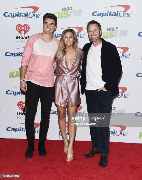 Television personalities Dean Unglert Becca Tilley and Chris Harrison arrive at 1027 KIIS FM's Jingle Ball 2017 at The Forum on December 1 2017 in...