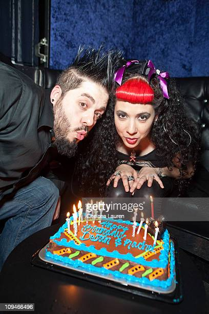 Television personalities Destin Pfaff and Rachel Federoff celebrate their birthdays at the Good Nite Bar on February 25 2011 in North Hollywood...