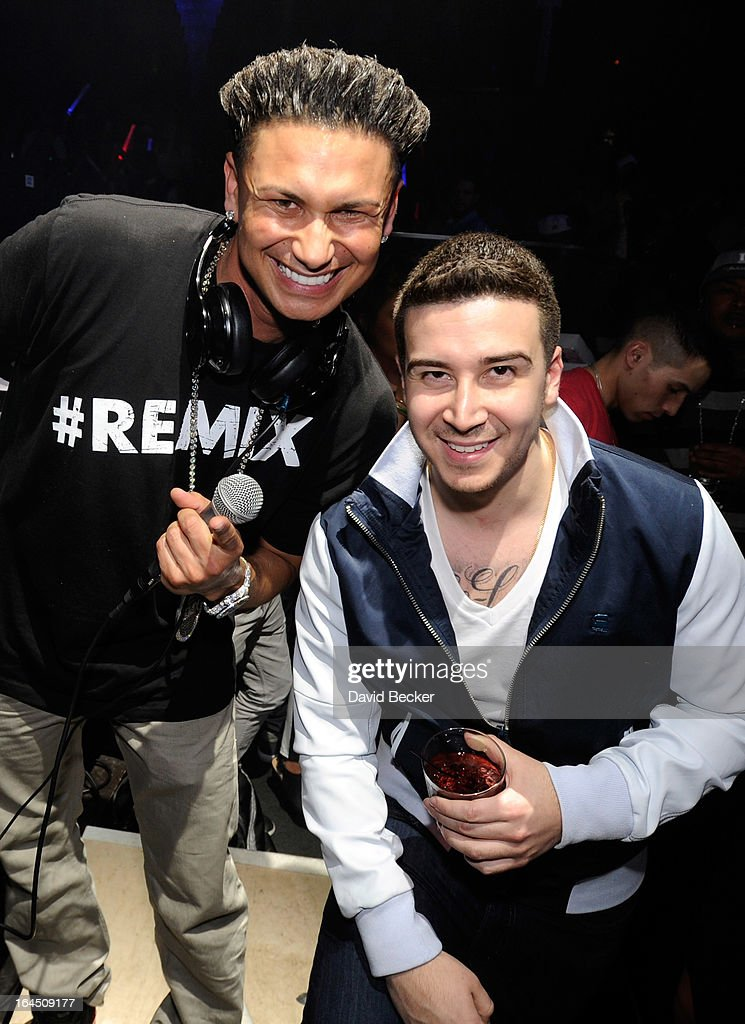 Television personalities DJ Paul 'Pauly D' DelVecchio (L) and Vinny Guadagnino appear at Haze Nightclub at the Aria Resort & Casino at CityCenter on on March 23, 2013 in Las Vegas, Nevada.