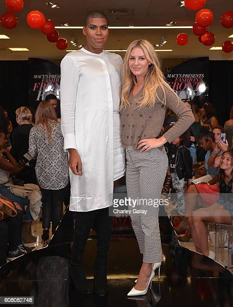 Television personalities EJ Johnson and Morgan Stewart attend Macy's Presents Fashion's Front Row In Los Angeles at The Beverly Center on September...