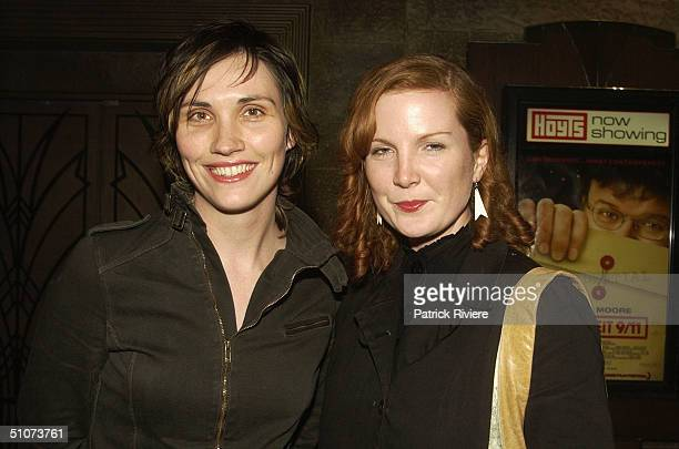 Television personalities Fenella Kernebone and Kate Crawford attend the premiere of Michael Moore's Fahrenheit 9/11 at Fox Studios July 15 2004 in...