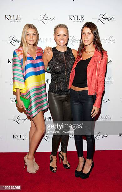 Television personalities Gigi Hadid Yolanda Hadid and Bella Hadid arrive at the Beverly Hills Lifestyle Magazine Fall 2012 Launch Party at Kyle by...
