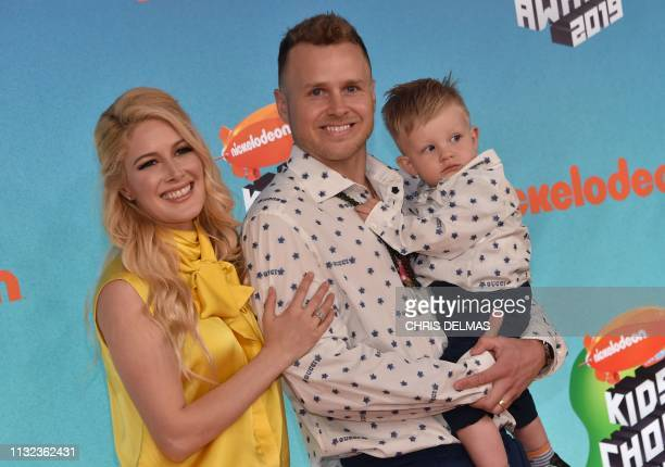 US television personalities Heidi Montag and Spencer Pratt and son Gunner arrive for the 32nd Annual Nickelodeon Kids' Choice Awards at the USC Galen...