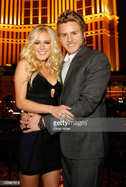Television personalities Heidi Montag and Spencer Pratt appear at the Social House Restaurant at the Treasure Island Hotel Casino before hosting a...