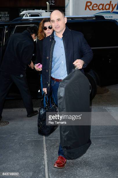 """Television personalities Hilary Farr and David Visentin enter the """"Today Show"""" taping at the NBC Rockefeller Center Studios on February 21, 2017 in..."""