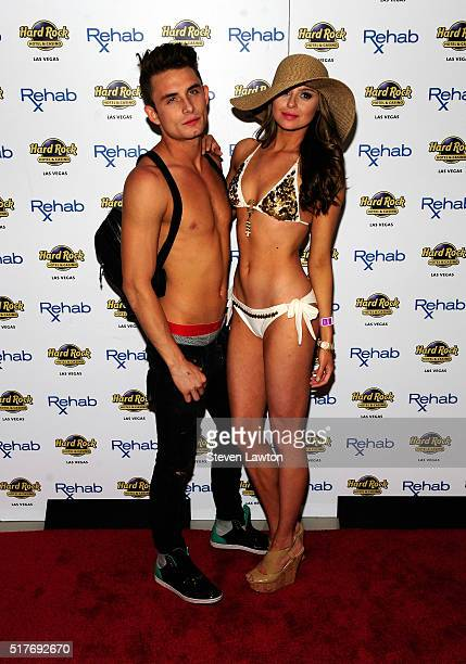 Television personalities James Kennedy and Raquel Leviss from 'Vanderpump Rules' arrive at the Hard Rock Hotel Casino's Rehab pool party on March 26...