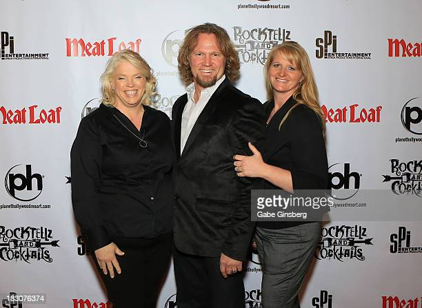 Television personalities Janelle Brown Kody Brown and Christine Brown from 'Sister Wives' arrive at the show 'RockTellz CockTails presents Meat Loaf'...