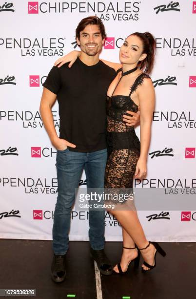 Television personalities Jared Haibon and Ashley Iaconetti attend Chippendales at the Rio Hotel Casino on December 08 2018 in Las Vegas Nevada