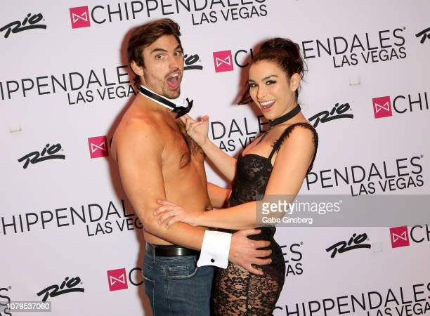 Television personalities Jared Haibon and Ashley Iaconetti joke around before his performance at Chippendales at the Rio Hotel Casino on December 08...