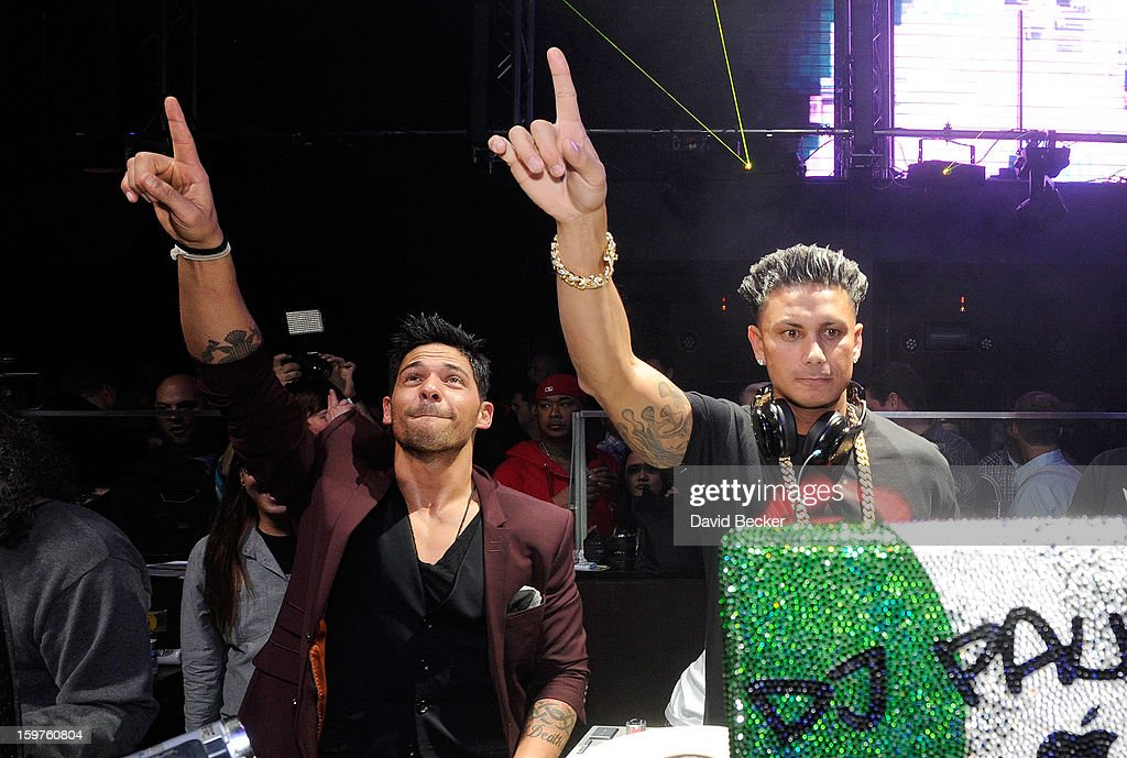 Television personalities Jason 'JROC' Craig (L) and DJ Paul 'Pauly D' DelVecchio appear at Haze Nightclub at the Aria Resort & Casino at CityCenter on January 19, 2013 in Las Vegas, Nevada.
