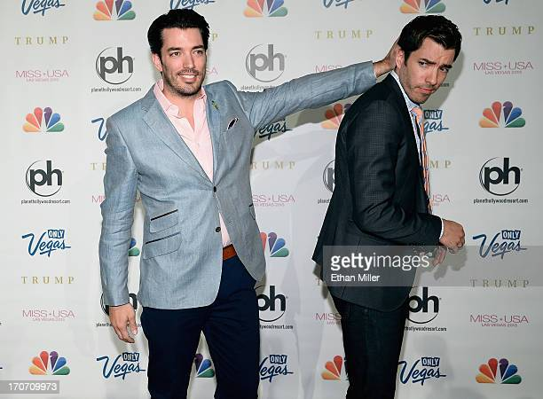 Television personalities Jonathan Scott and Drew Scott arrive at the 2013 Miss USA pageant at Planet Hollywood Resort Casino on June 16 2013 in Las...