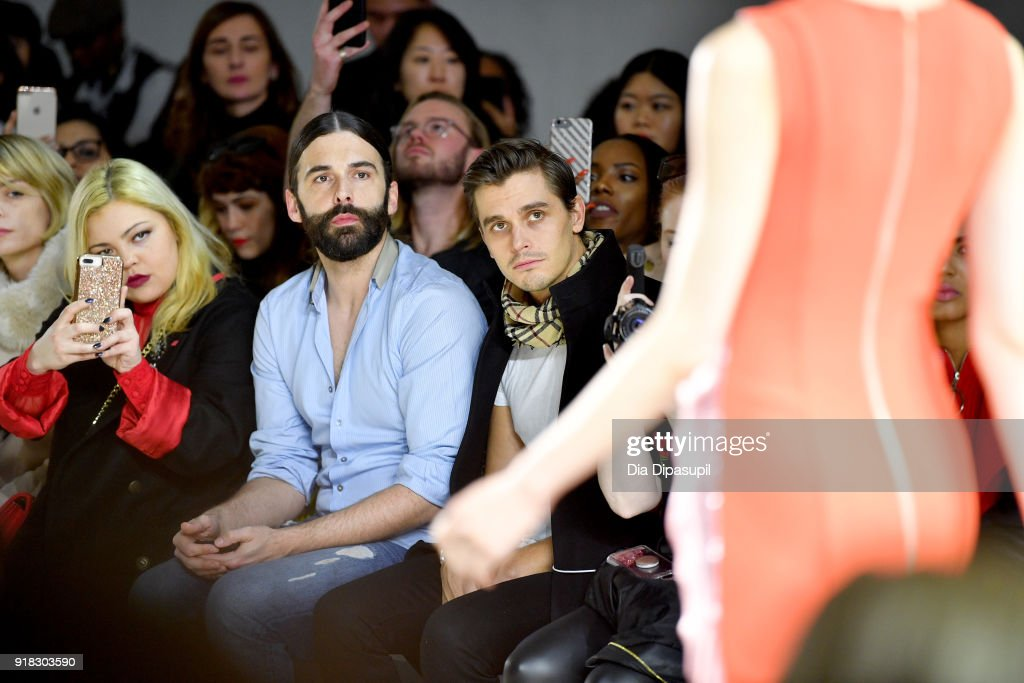 Television personalities Jonathan van Ness and Antoni Porowski (R) attend the Marcel Ostertag front row during New York Fashion Week: The Shows at Gallery II at Spring Studios on February 14, 2018 in New York City.