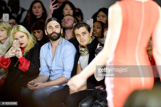 Television personalities Jonathan van Ness and Antoni Porowski attend the Marcel Ostertag front row during New York Fashion Week The Shows at Gallery...