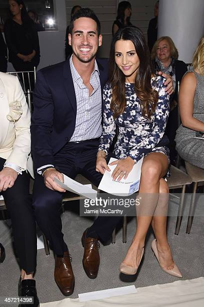 Television personalities Josh Murray and Andi Dorfman sit front row at The Mark Zunino For Kleinfeld 2015 Runway Show at Kleinfeld on October 14 2014...