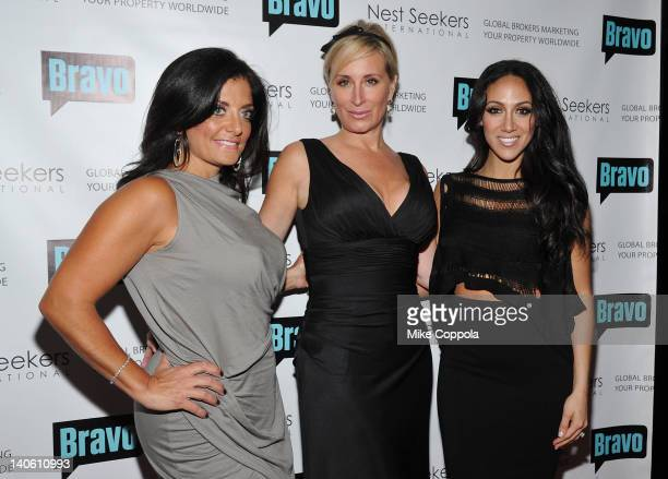 Television personalities Kathy Wakile Sonja Morgan and Melissa Gorga attend the Million Dollar Listing New York premiere at Catch Roof on March 2...