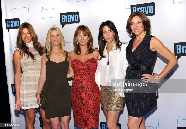Television personalities Kelly Bensimon Alex McCord Jill Zarin Cindy Barshop and LuAnn de Lesseps attend the 2011 Bravo Upfront at 82 Mercer on March...