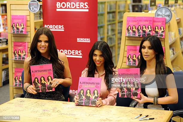 Television Personalities Khloe Kardashian Kourtney Kardashian and Kim Kardashian make an appearance at Borders Century City to sign copes of their...