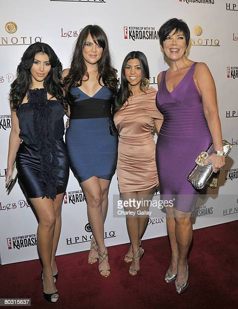 Television personalities Kim Kardashian Khloe Kardashian Kourtney Kardashian and Kris Jenner attend the season two launch of Keeping Up With The...