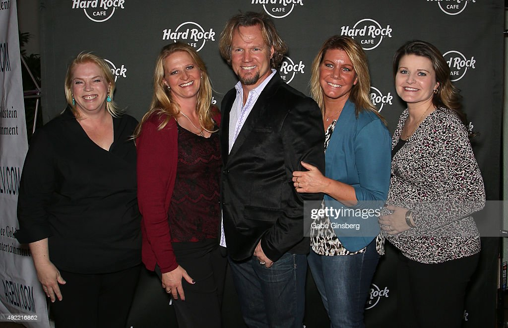 Television personalities Kody Brown (C) and his wives, (L-R) Janelle Brown, Christine Brown, Meri Brown and Robyn Brown, attend Hard Rock Cafe Las Vegas at Hard Rock Hotel's 25th anniversary celebration on October 10, 2015 in Las Vegas, Nevada.